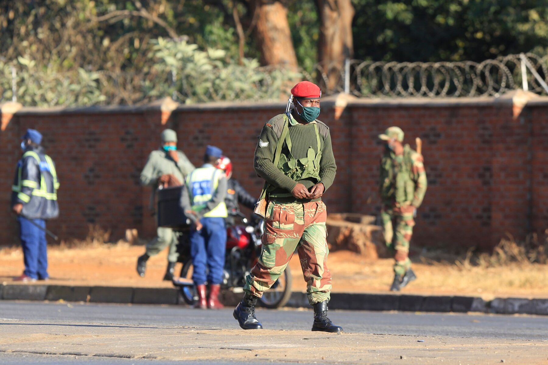 Zimbabwean Security forces monitor the Situation In the Streets..